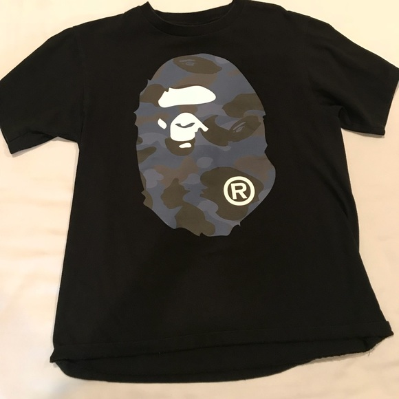 d47bdd2db Bape Shirts | A Bathing Ape Blue Black Ape Head Tee | Poshmark